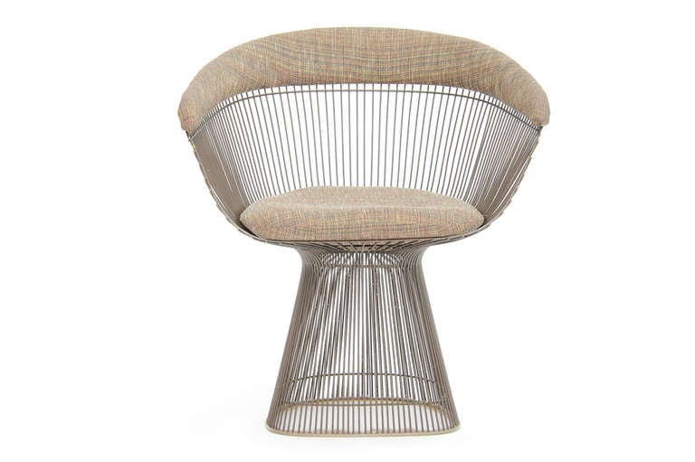 A Set Of Four Warren Platner Dining Chairs In Bronze