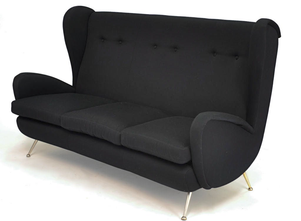 Italian High Back Wing Sofa For Sale At 1stdibs