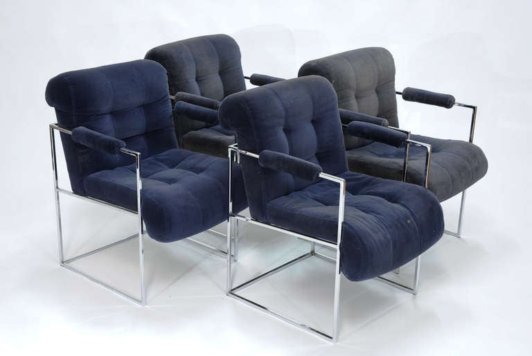 """A set of four original Baughman armchairs for Thayer Coggin. Arm height is 26""""."""