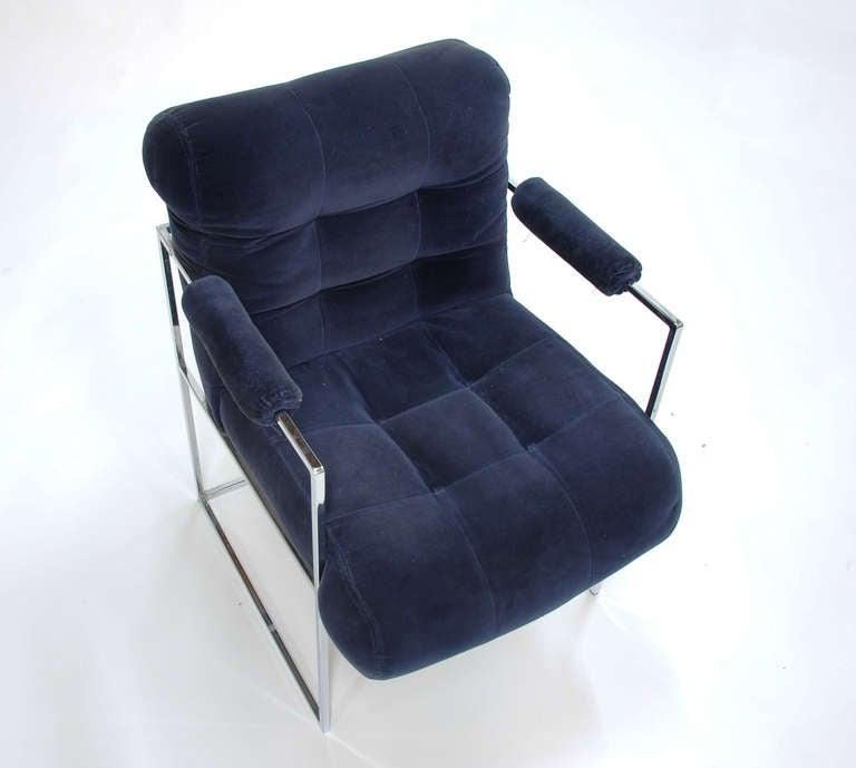 Chrome Set of Four Milo Baughman Armchairs For Sale