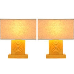 Handsome pair of Blond Bulleye Table Lamps
