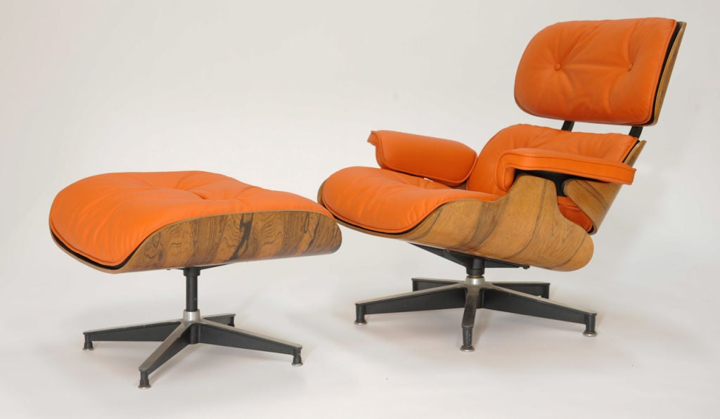Eames 670 And 671 Lounge Chair In Hermes Orange Leather At 1stdibs