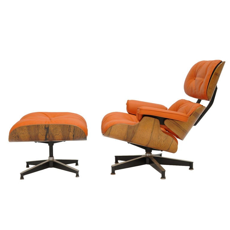 "Eames 670 and 671 Lounge Chair in ""Hermes"" orange leather at 1stdibs"