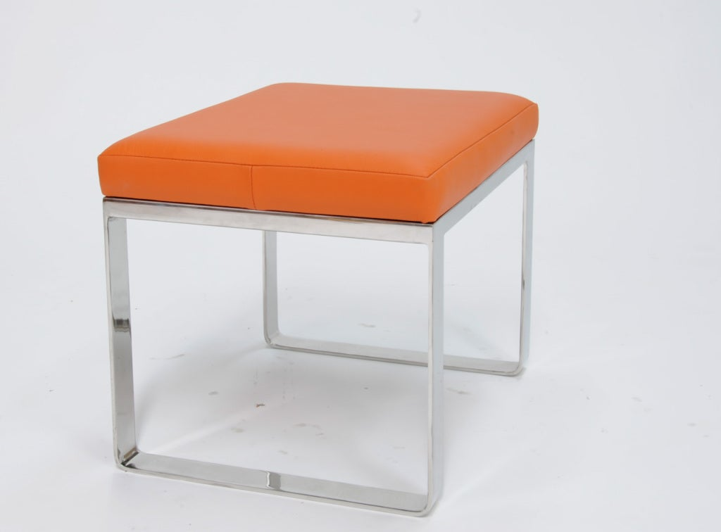 Stainless Steel Bench With A Hermes Orange Leather Seat At 1stdibs