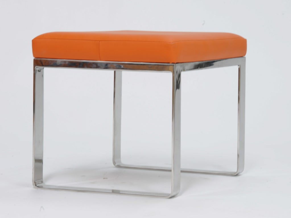 Steel Bench Seats : Stainless steel bench with a hermes orange leather seat at