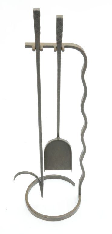 Grand Hand-Forged Iron Artisan Fireplace Tools 2