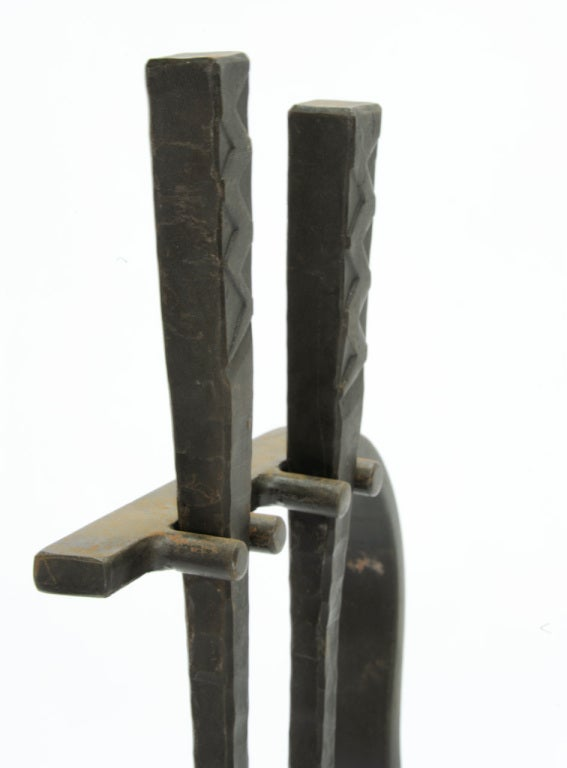 Grand Hand-Forged Iron Artisan Fireplace Tools 5