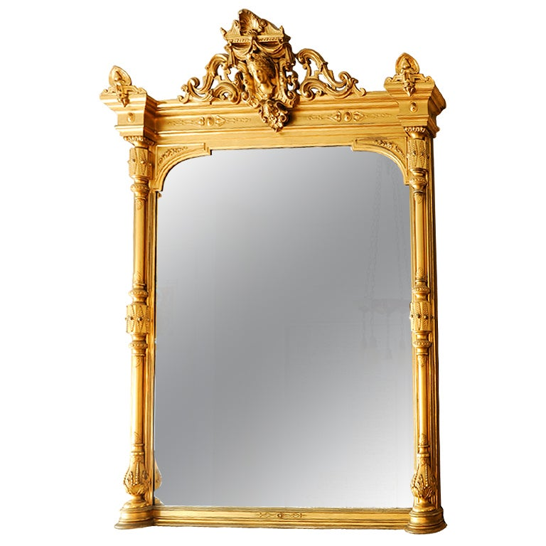 A grand mantle mirror at 1stdibs for Mantle mirror