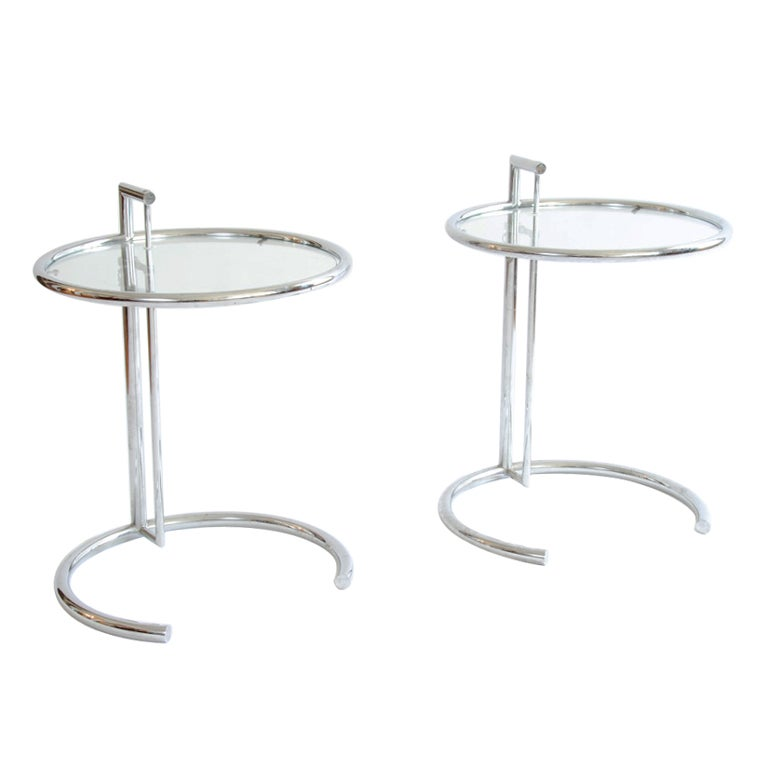 Italy Glass Side Tables in the Manner of Eileen Gray