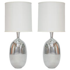 Pair of Monumental Aluminum Polished Table Lamps