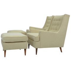 A Pair of Milo Baughman Club Chairs and Ottomans