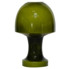 Amazing Green Glass Italian Mushroom Lamp in the Manner of Gino Vistosi