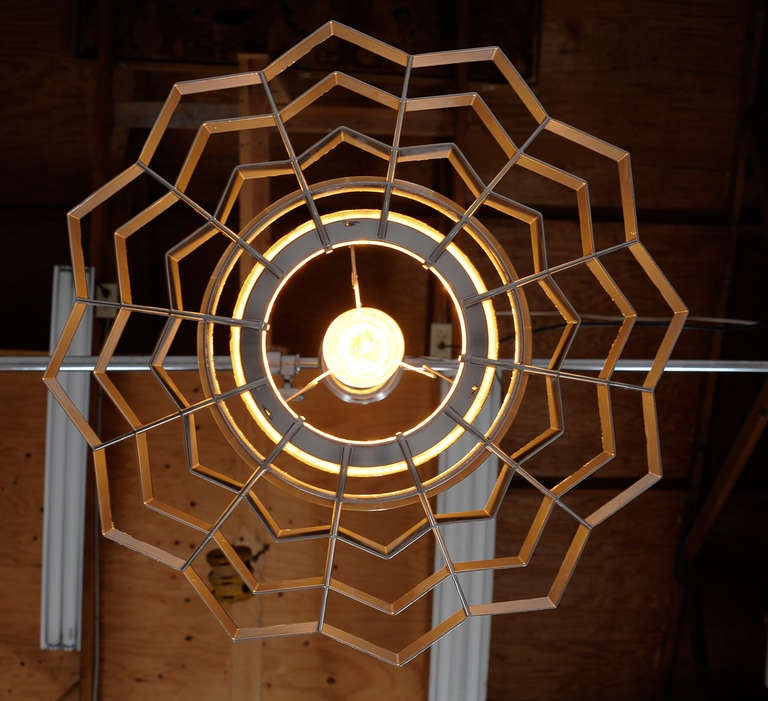 Mid-Century Modern Set of Four Snowflake Pendant Lights For Sale