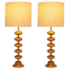 Pair of Monumental Faux Gold Gilded Rembrant Masterpiece Lamps