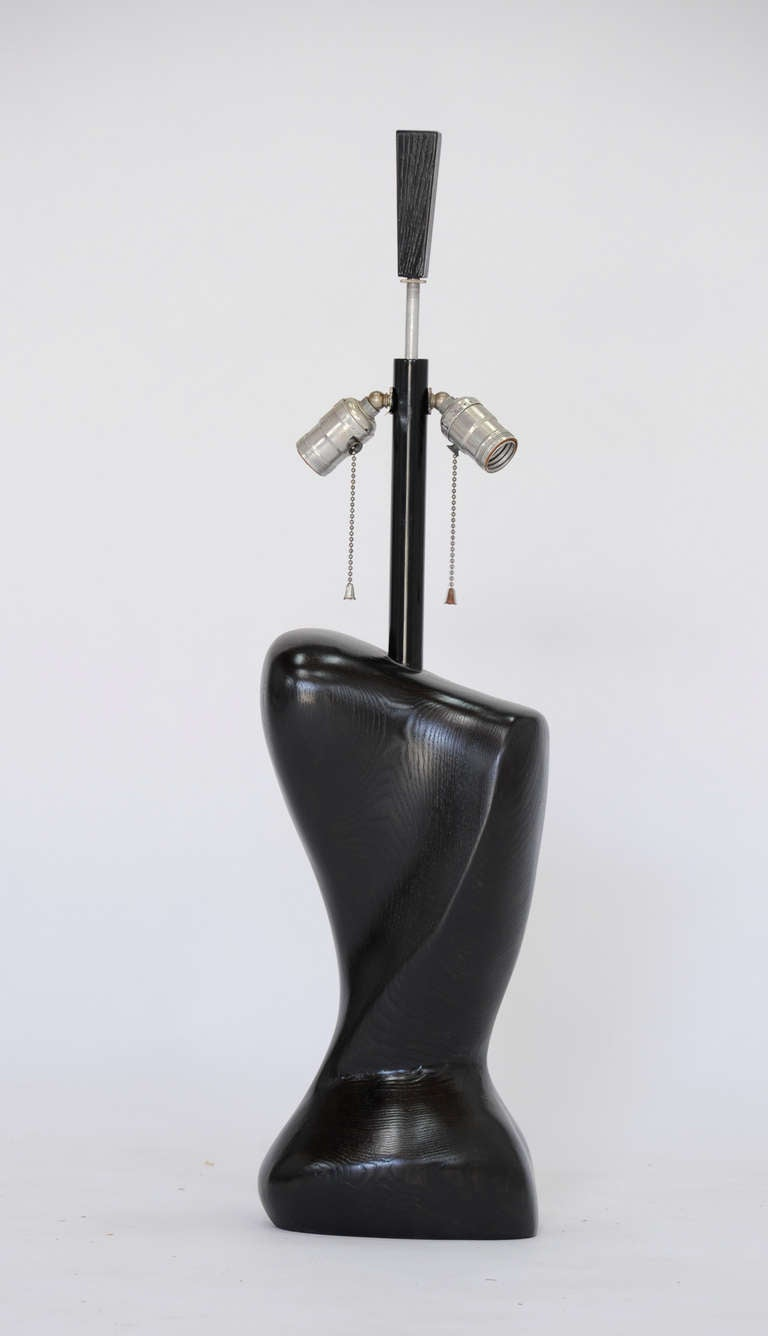 Pair of Wonderfully Sensual Black Lacquer Table Lamps Attributed to Heifetz 4