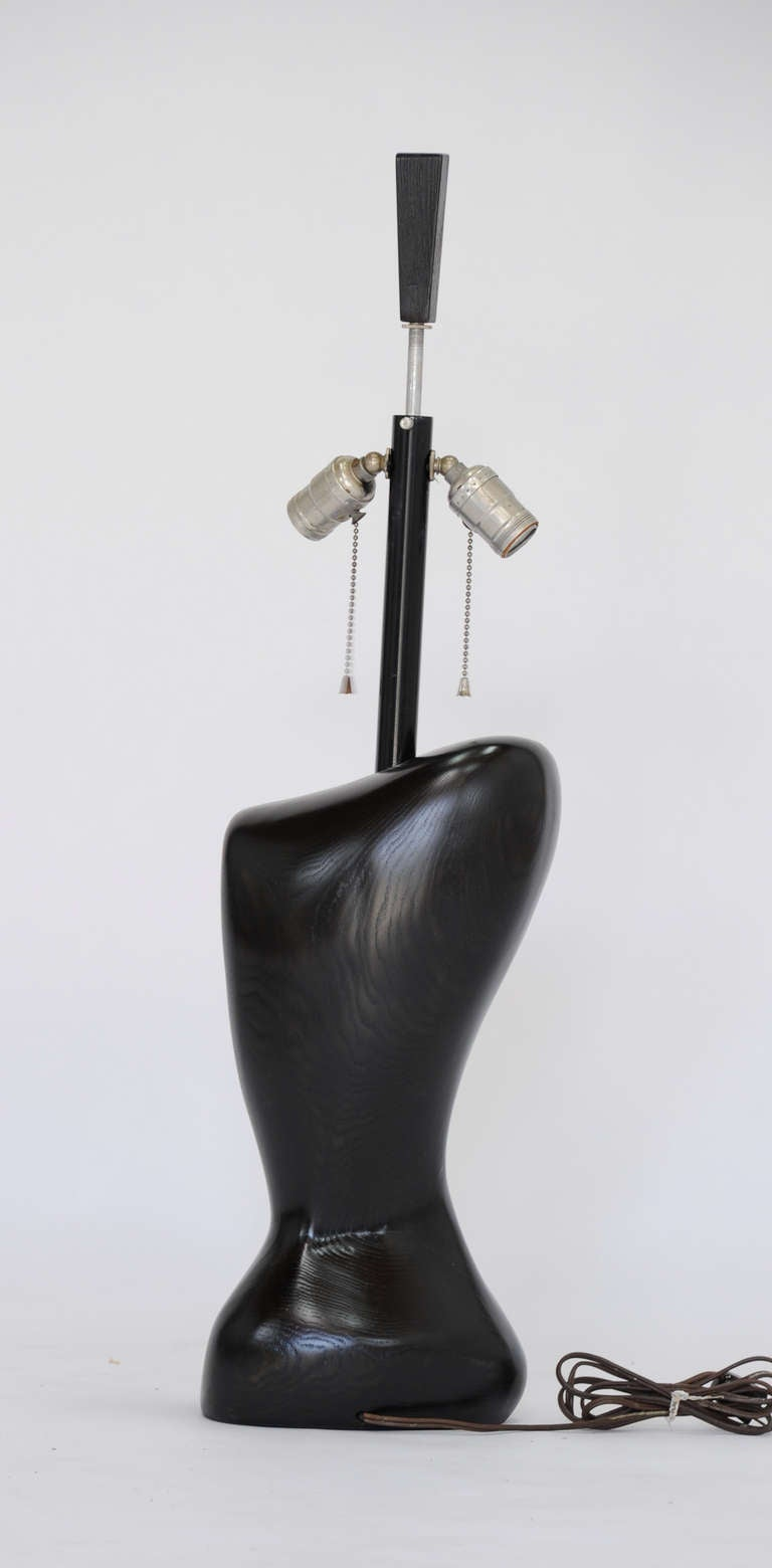 Pair of Wonderfully Sensual Black Lacquer Table Lamps Attributed to Heifetz 6
