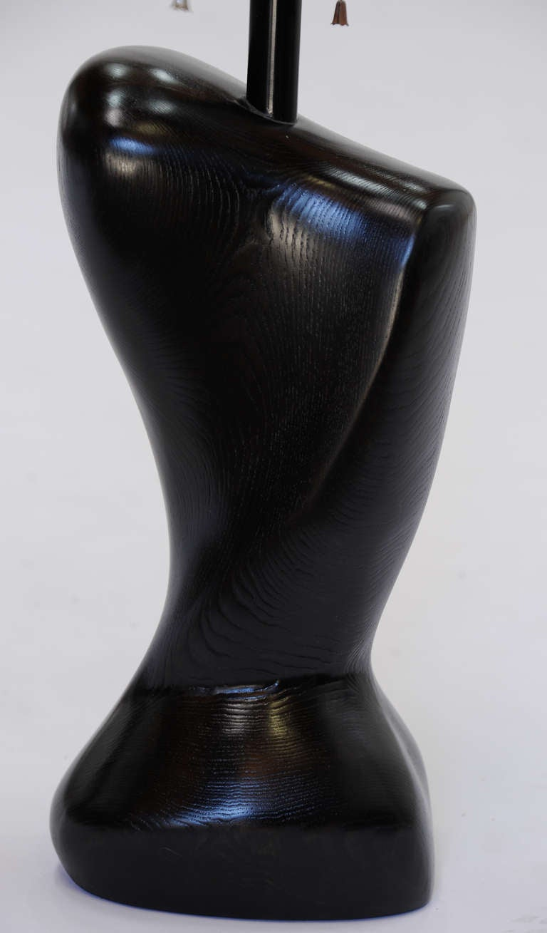 Pair of Wonderfully Sensual Black Lacquer Table Lamps Attributed to Heifetz 8
