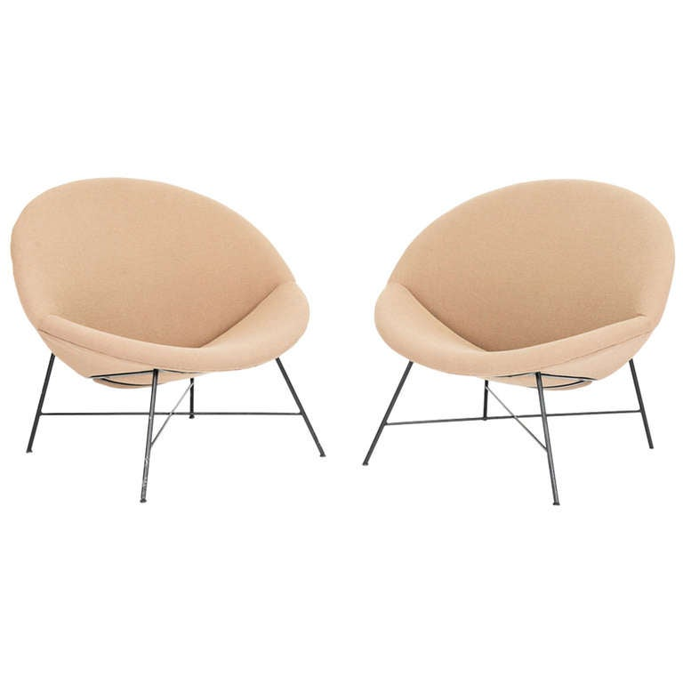 Pair Of Custom Made Regal And Grand, Modern Half Moon Chairs For Sale
