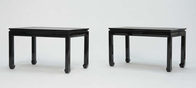 Pair of Black Lacquered End Tables with Leather Top after Paul Laszlo 2