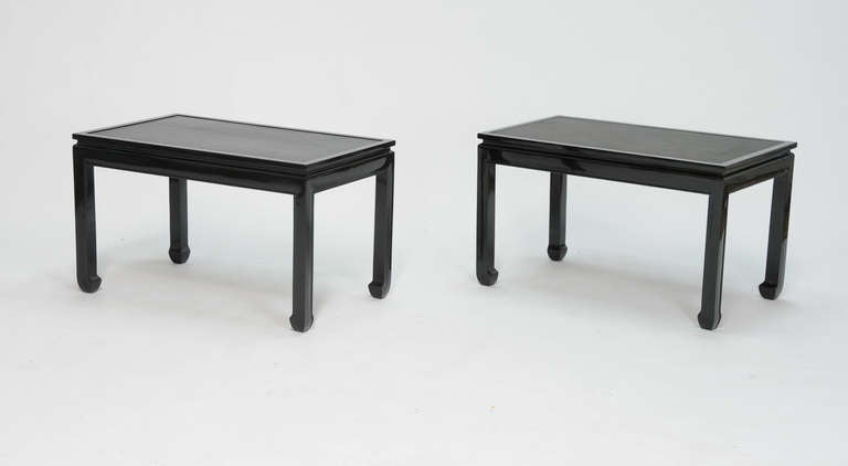 Pair of Black Lacquered End Tables with Leather Top after Paul Laszlo 3