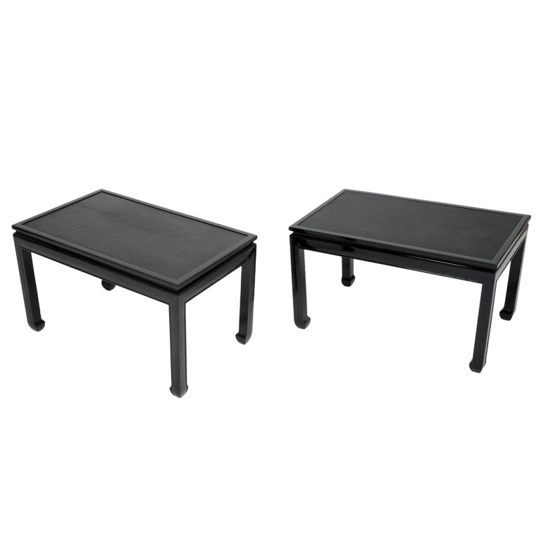 Pair of Black Lacquered End Tables with Leather Top after Paul Laszlo