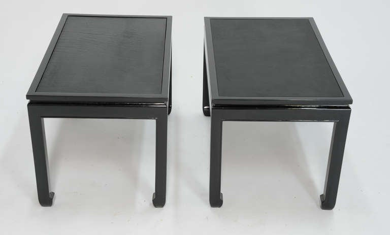 Pair of Black Lacquered End Tables with Leather Top after Paul Laszlo 4