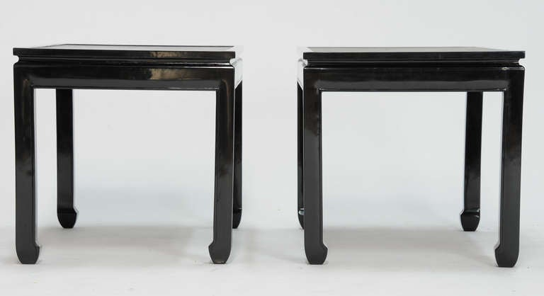 Pair of Black Lacquered End Tables with Leather Top after Paul Laszlo 5