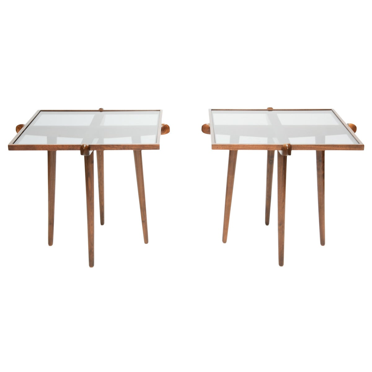 Pair of Walnut and Smoke Glass Side Tables in the Manner of Gio Ponti 1