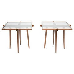 Pair of Walnut and Smoke Glass Side Tables in the Manner of Gio Ponti