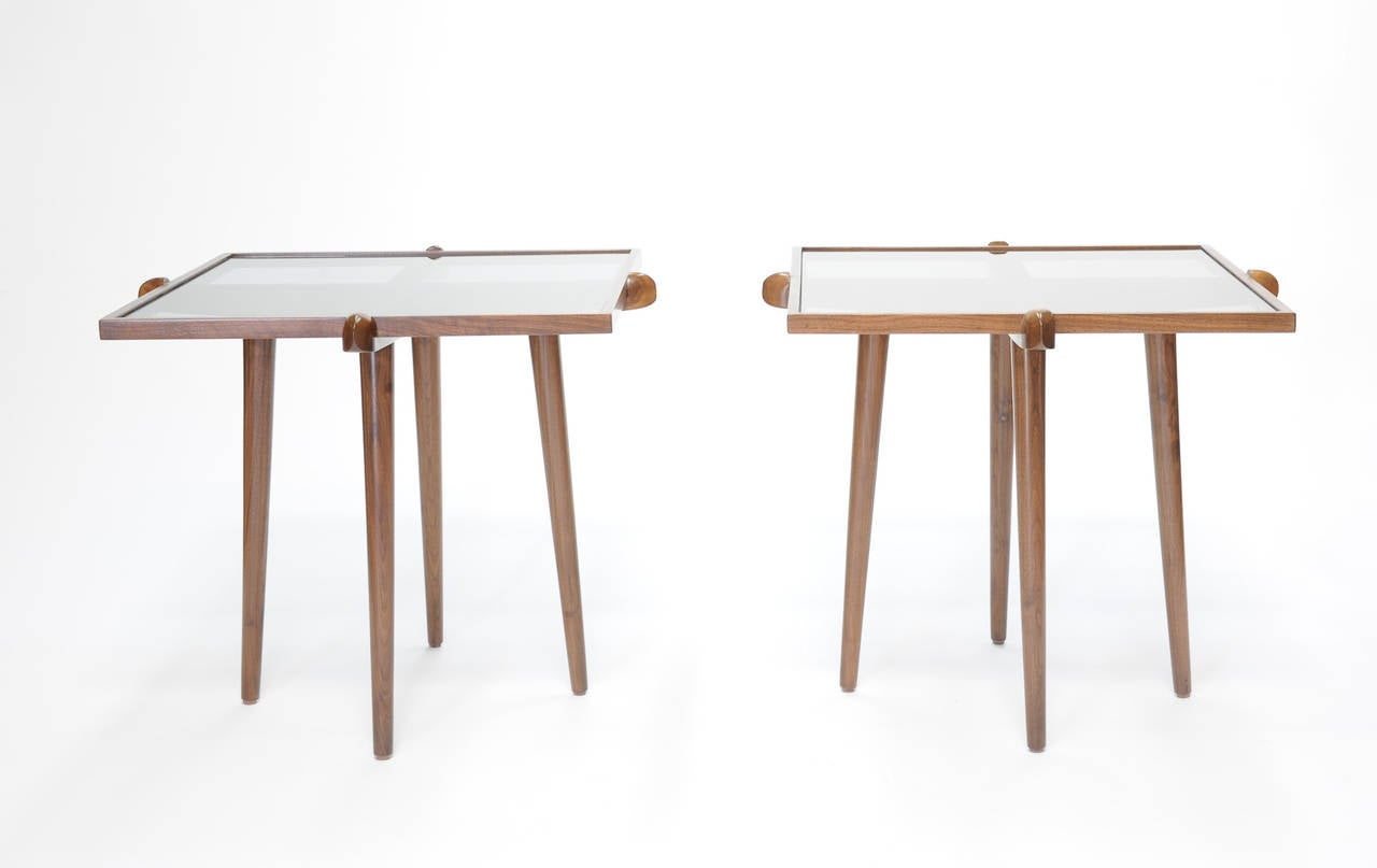 Pair of Walnut and Smoke Glass Side Tables in the Manner of Gio Ponti 2