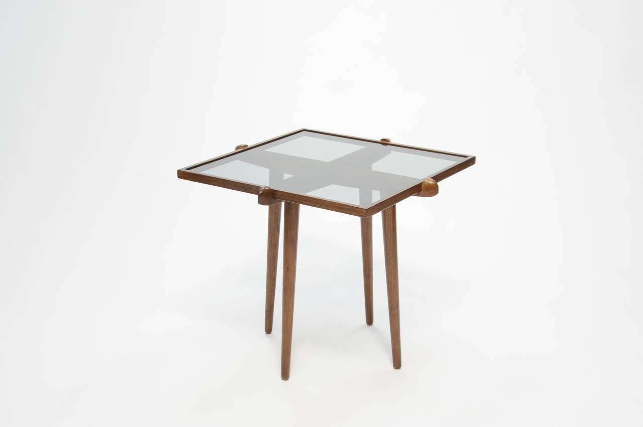 Pair of Walnut and Smoke Glass Side Tables in the Manner of Gio Ponti 3