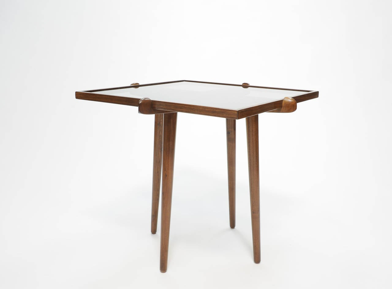 Pair of Walnut and Smoke Glass Side Tables in the Manner of Gio Ponti 4
