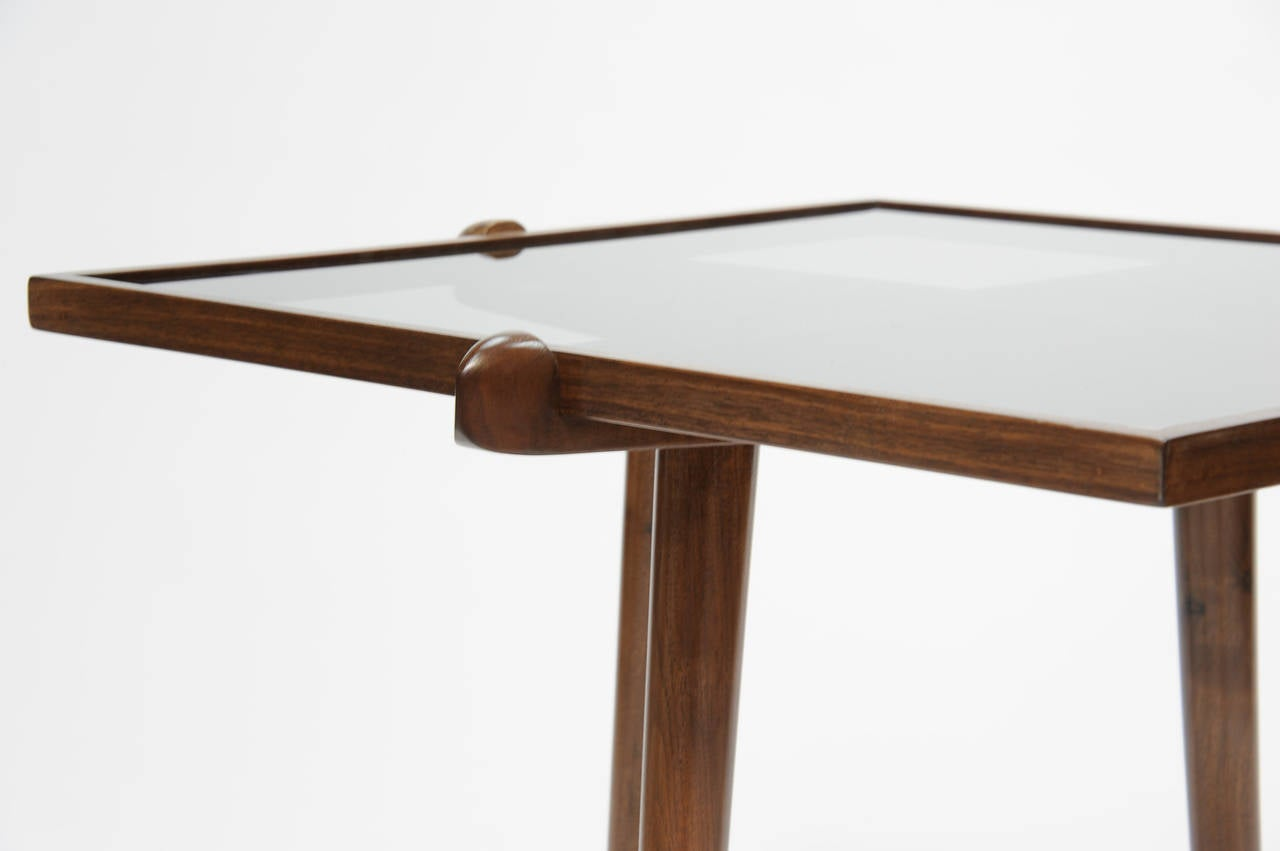 Pair of Walnut and Smoke Glass Side Tables in the Manner of Gio Ponti 5