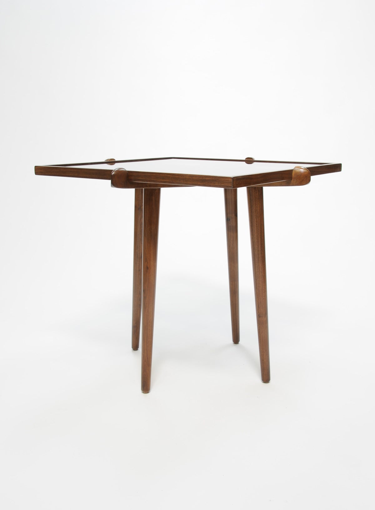 Pair of Walnut and Smoke Glass Side Tables in the Manner of Gio Ponti 6