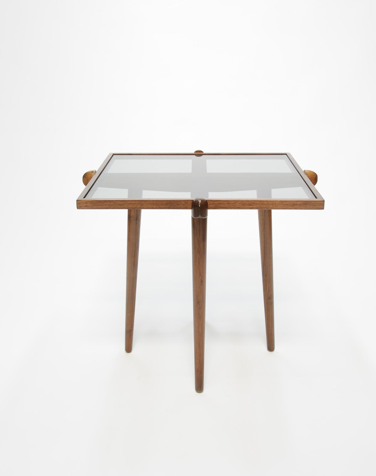 Pair of Walnut and Smoke Glass Side Tables in the Manner of Gio Ponti 8
