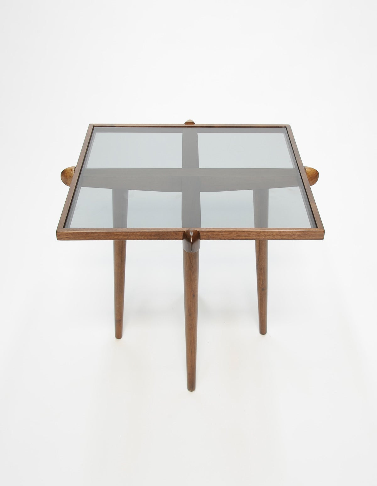 Pair of Walnut and Smoke Glass Side Tables in the Manner of Gio Ponti 9