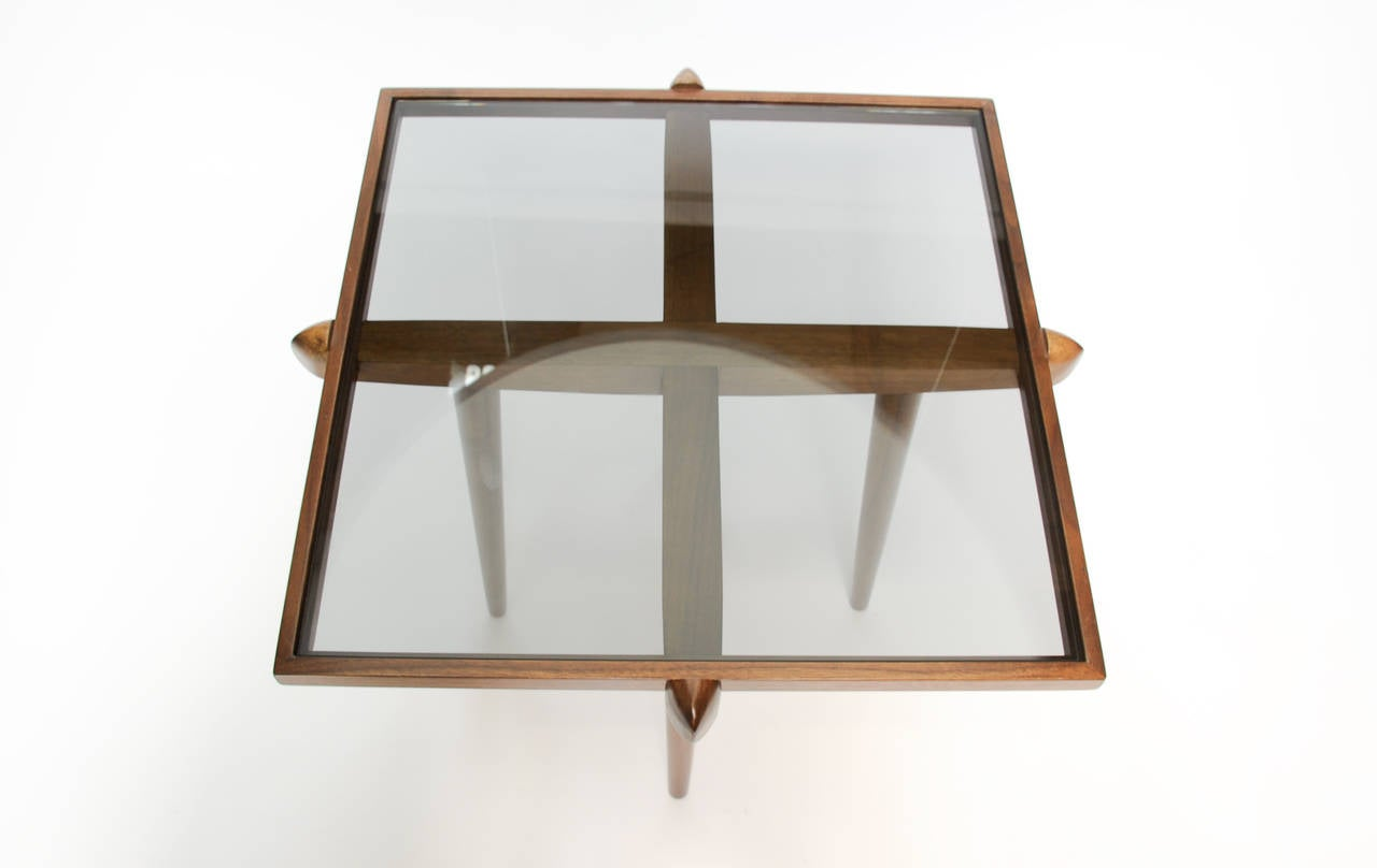 Pair of Walnut and Smoke Glass Side Tables in the Manner of Gio Ponti 10