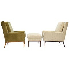 Paul McCobb 1312 High Back Club Chairs and 314 Ottoman for Directional Furniture