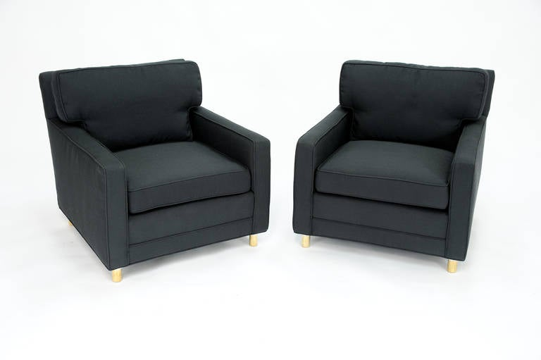Classic Pair of Edward Wormley for Dunbar Club Chairs 3