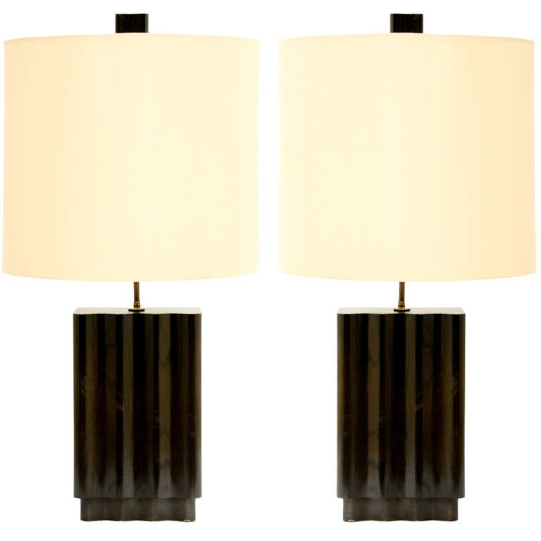 Pair of Wave Lamps in the Manner of Paul Laszlo by F.F. Kern For Sale