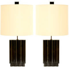Pair of Wave Lamps in the Manner of Paul Laszlo by F.F. Kern