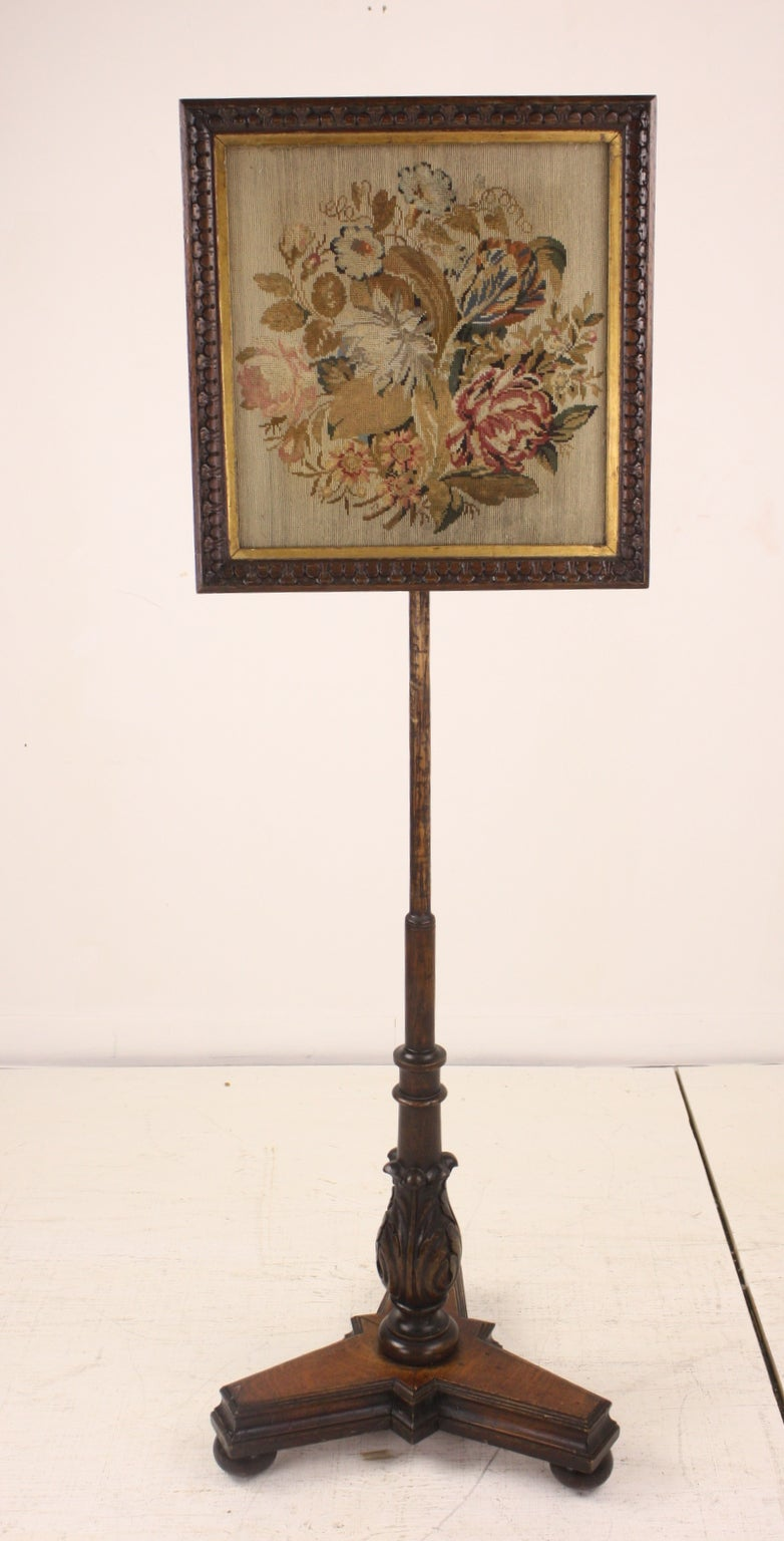 Antique William IV English Embroidered Fire Screen