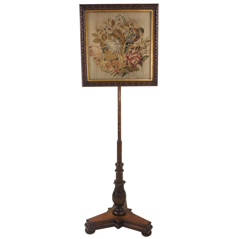 Antique William Iv English Embroidered Fire Screen For Sale At 1stdibs