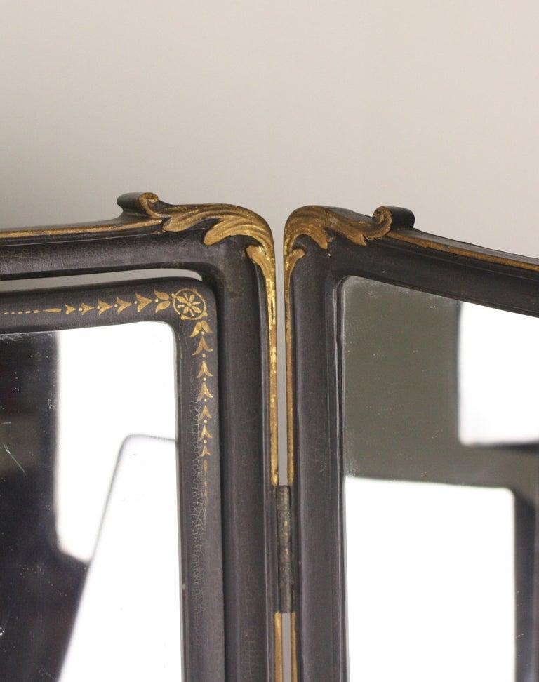 Large Antique English Triptich Mirror Gold Decorative