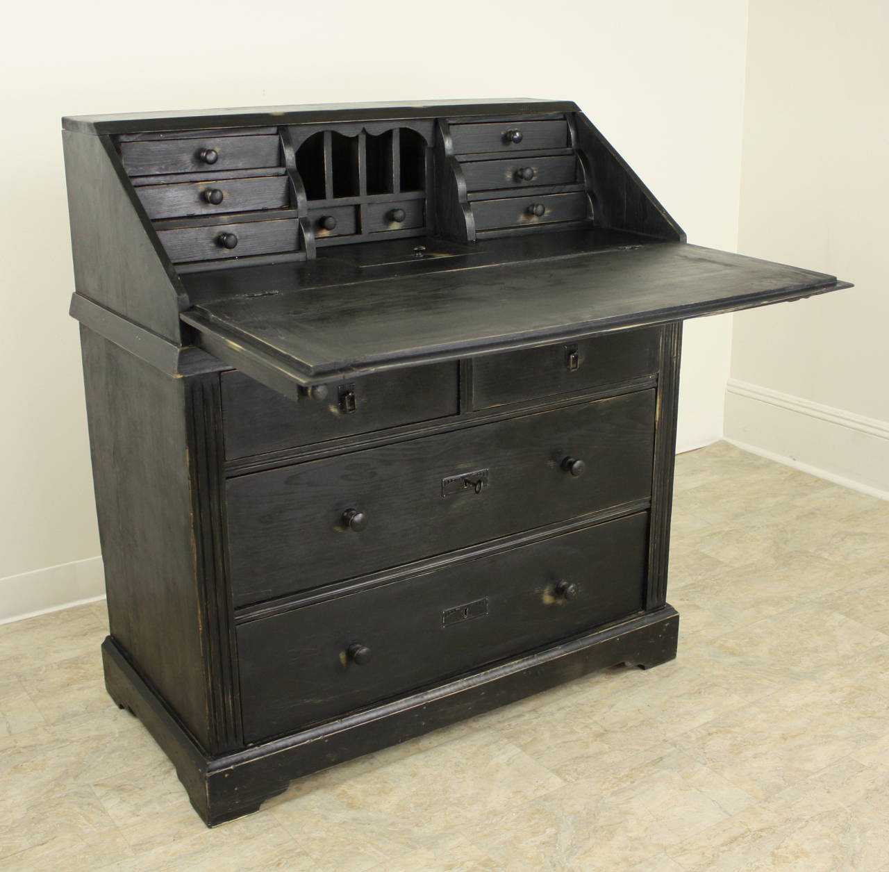 Antique Continental Black Slant Top Desk At 1stdibs
