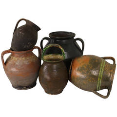 Collection of Five Decorative Antique Romanian Cooking Vessels