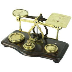 Antique English Brass Postal Scale and Weights
