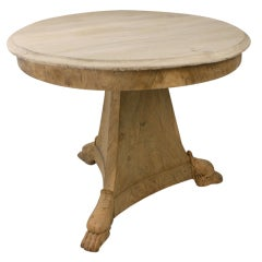 Decorative Antique Bleached French Walnut Center Table, Lion's Feet