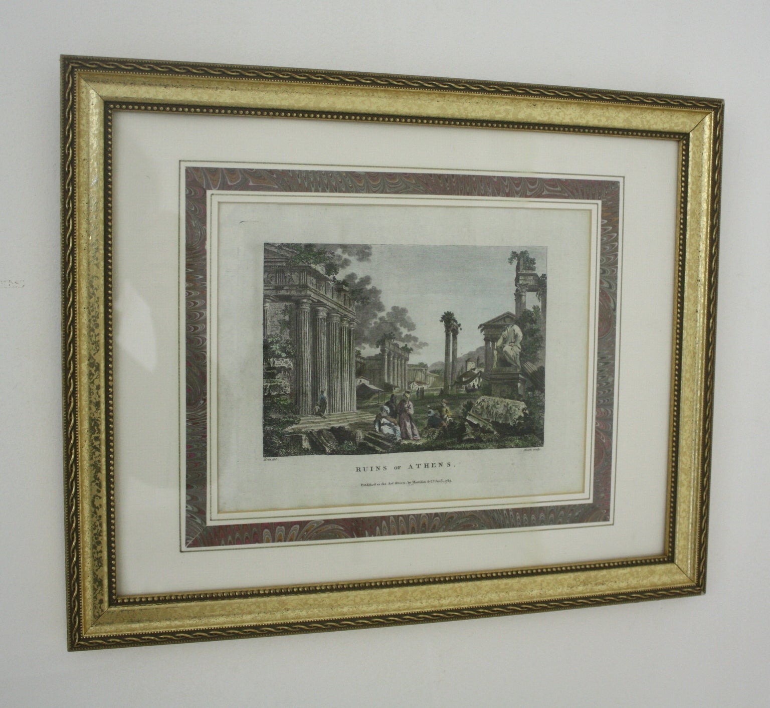 Four English Historical Prints, Framed, circa 1782