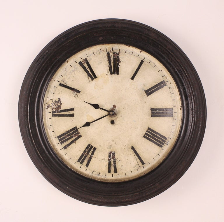 antique country large french metal wall clock at 1stdibs